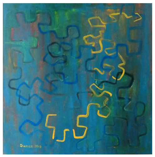 Dragon Curve in Blue - Suman Vaze